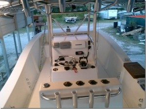 Here is the center console with controls and electronics being installed.