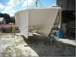 Here is the catamaran being pulled from the mold.