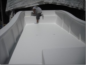 Here is the deck Being sprayed with a Gel Coat.